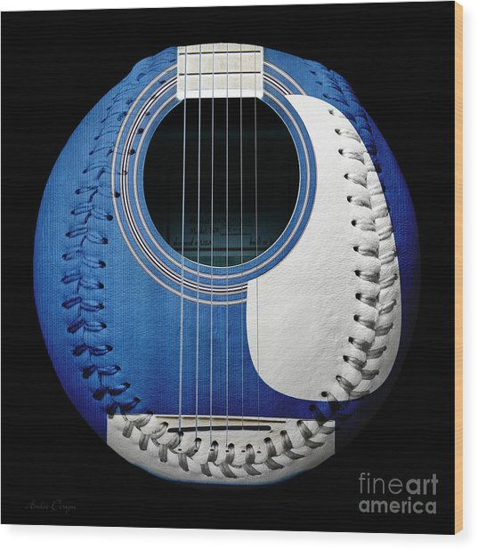 Blue Guitar Baseball White Laces Square Wood Print
