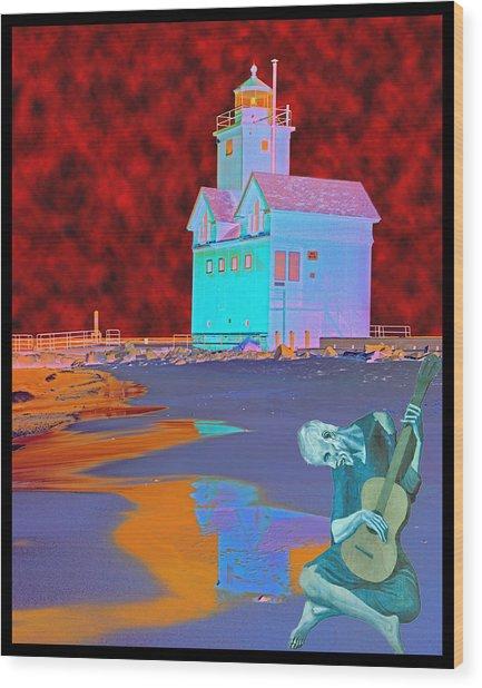 Blue Guitarist At Big Blue Wood Print