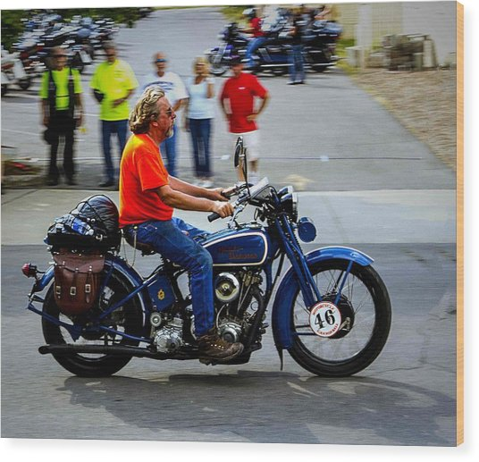 Blue Harley 46 Wood Print