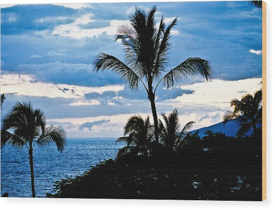 Blue Hawaii Sun 81 Wood Print