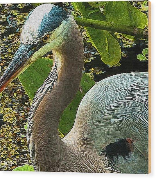 Blue Heron Addict Wood Print