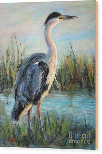 Blue Heron Wood Print