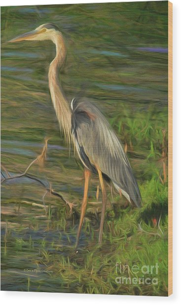 Blue Heron On The Bank Wood Print