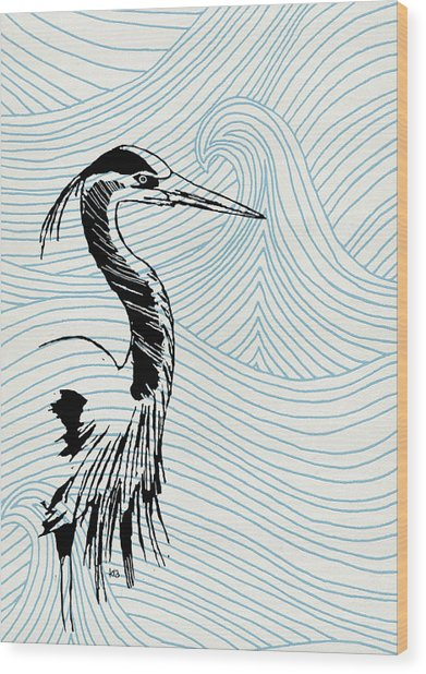 Blue Heron On Waves Wood Print