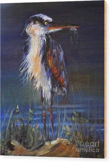 Wood Print featuring the painting Blue Heron by Priti Lathia