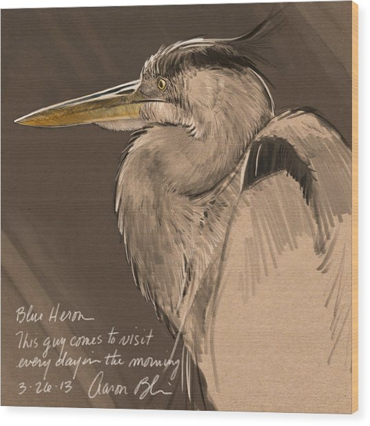 Blue Heron Sketch Wood Print