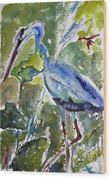 Blue Heron Stalking Watercolor Wood Print