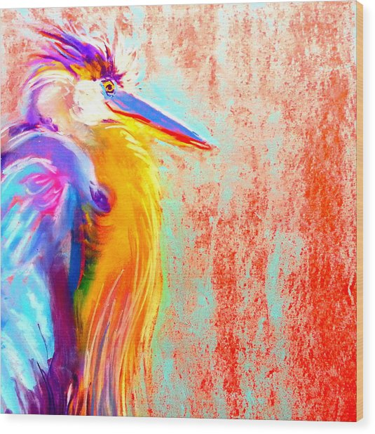 Funky Blue Heron Bird Wood Print