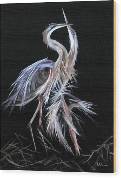 Blue Herons Mating Dance Wood Print