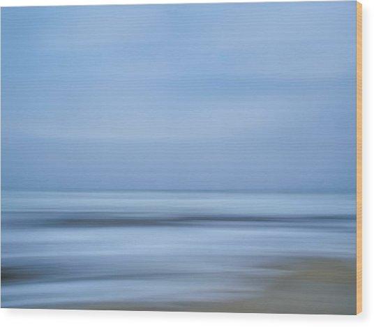 Blue Hour Beach Abstract Wood Print