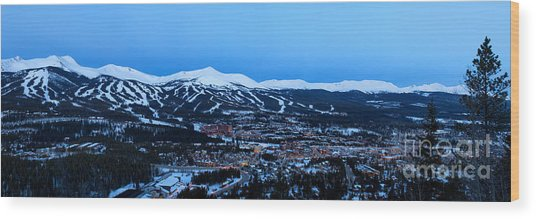 Blue Hour In Breckenridge Wood Print