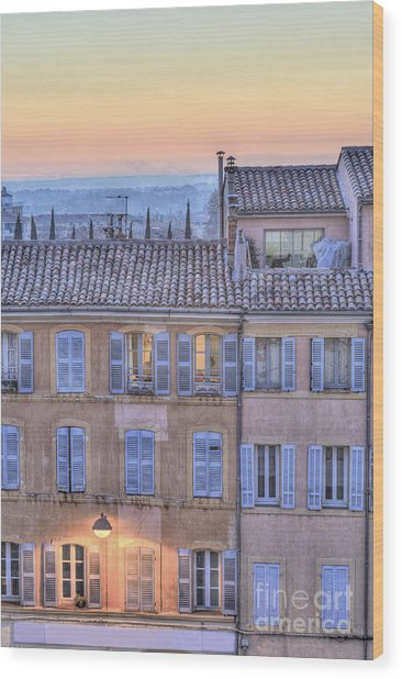 Blue Hour In Provence Wood Print