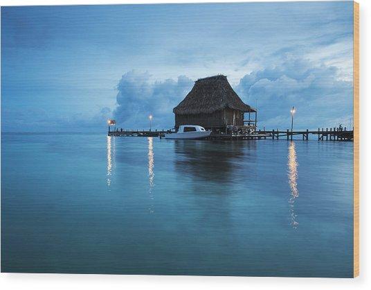 Blue Hour Landscape Wood Print