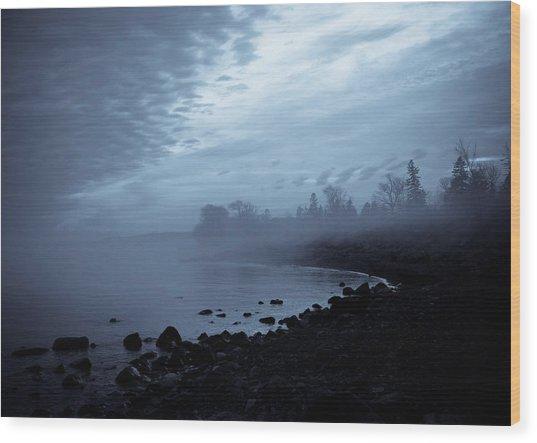 Blue Hour Mist Wood Print