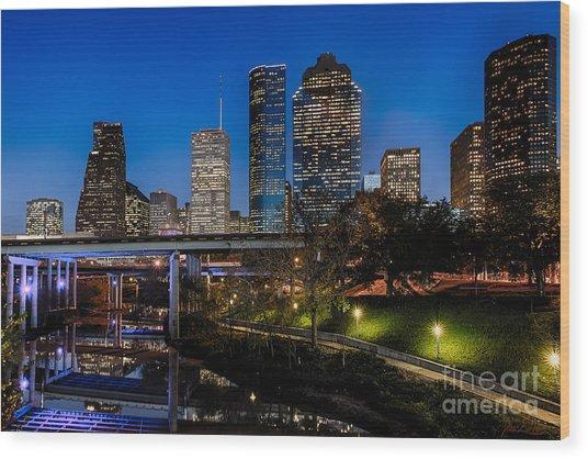 Blue Hour On Buffalo Bayou Wood Print by Dee Zunker