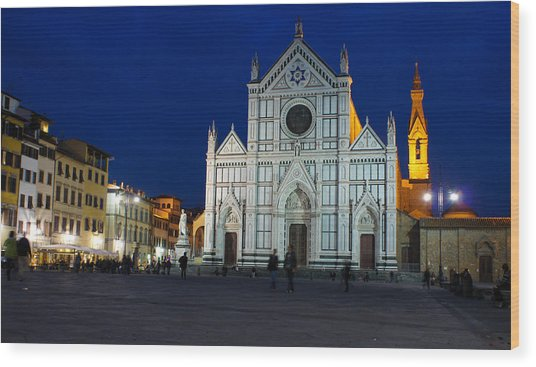 Blue Hour - Santa Croce Church Florence Italy Wood Print