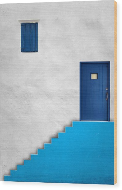 Blue House Wood Print by Alfonso Novillo