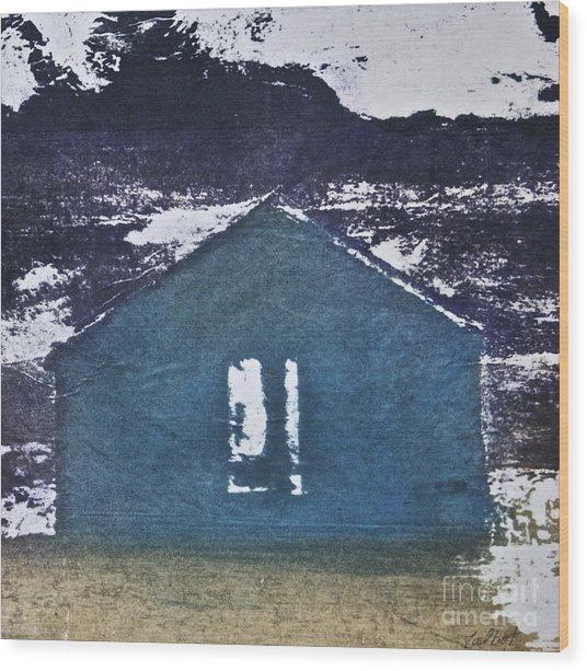Blue House Wood Print by Deborah Talbot - Kostisin