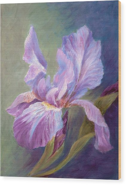 Blue Indigo Iris Wood Print by Irene Hurdle