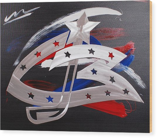 Blue Jackets Wood Print by Mac Worthington