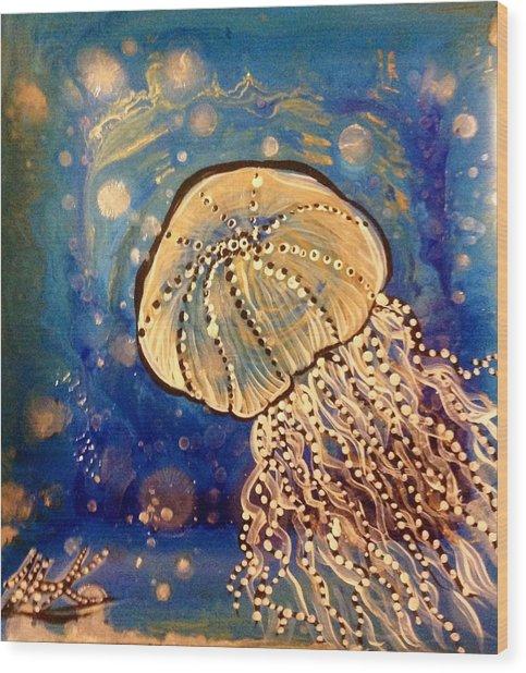 Blue Jellyfish Wood Print by Michaela Kraemer