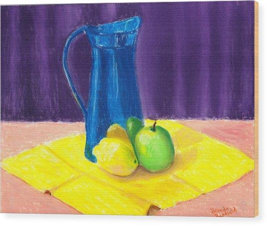 Blue Jug Wood Print