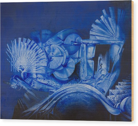 Blue Landscape Wood Print by Fernando Alvarez