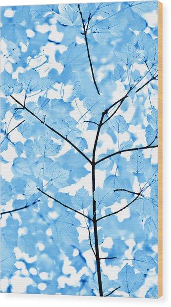 Blue Leaves Melody Wood Print