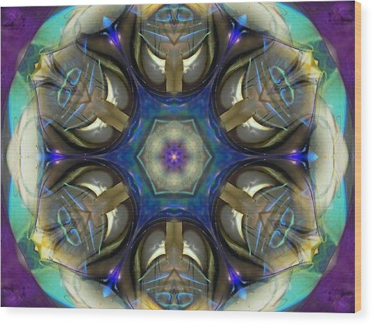 Blue Light Angel Mandala Wood Print