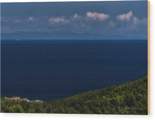 Blue Liguria Wood Print