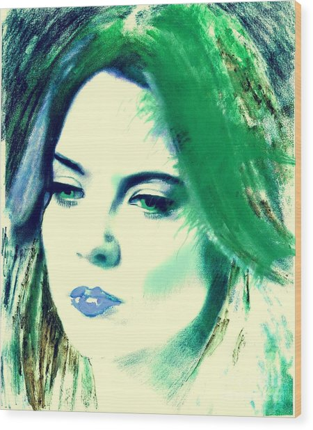 Blue Lips On Green Wood Print
