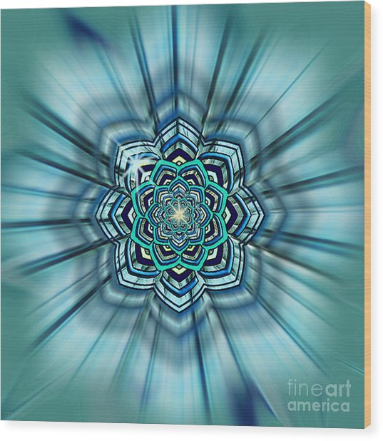 Blue Lotus Mandala Wood Print