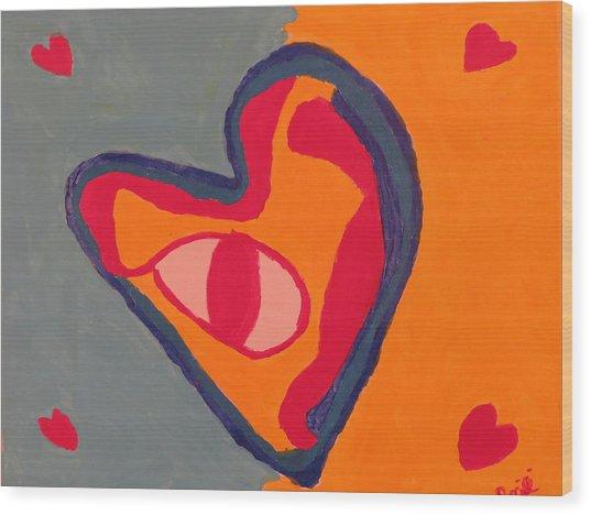 Blue Love Wood Print