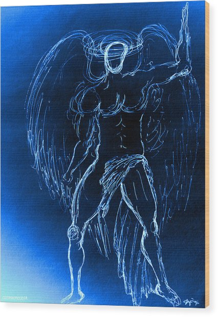 Blue Male Angel Wood Print