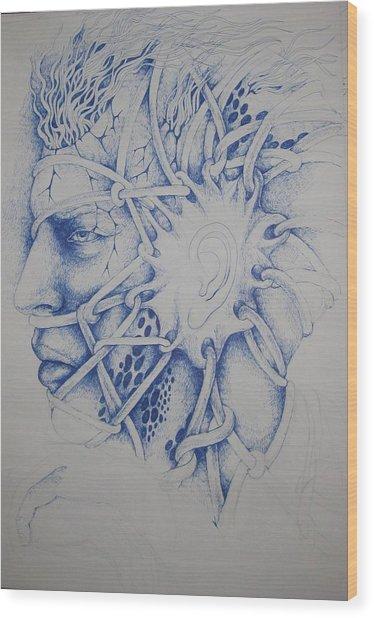 Blue Man Wood Print by Moshfegh Rakhsha
