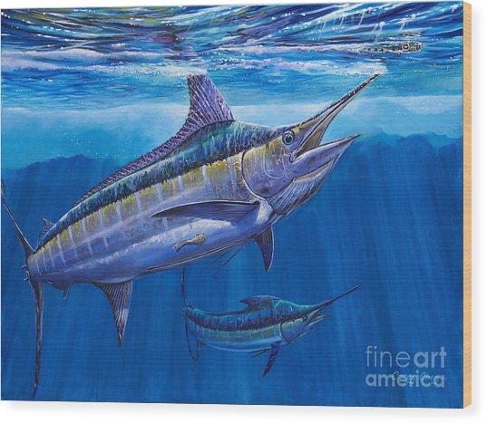 Blue Marlin Bite Off001 Wood Print