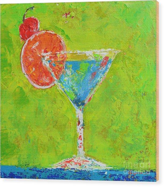 Blue Martini - Cherry Me Up - Modern Art Wood Print