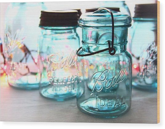 Blue Mason Jars Wood Print