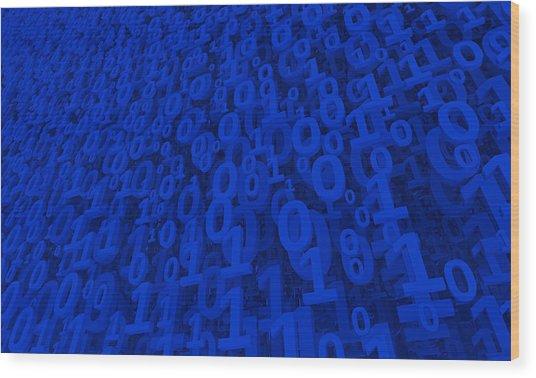 Blue Matrix Wood Print