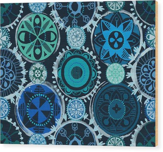 Blue Medallions  Wood Print