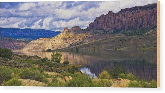 Blue Mesa Reservoir Digital Painting Wood Print