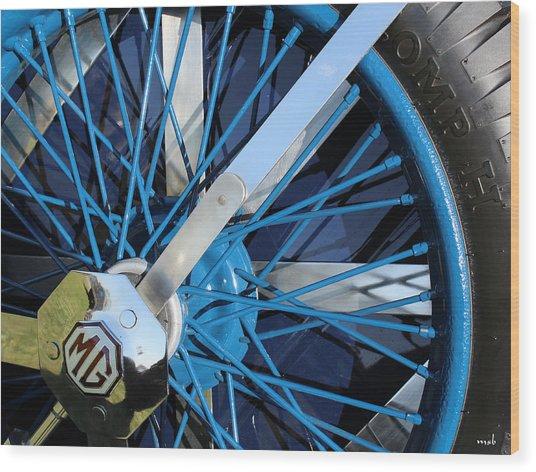 Blue Mg Wire Spoke Rim Wood Print by Mark Steven Burhart