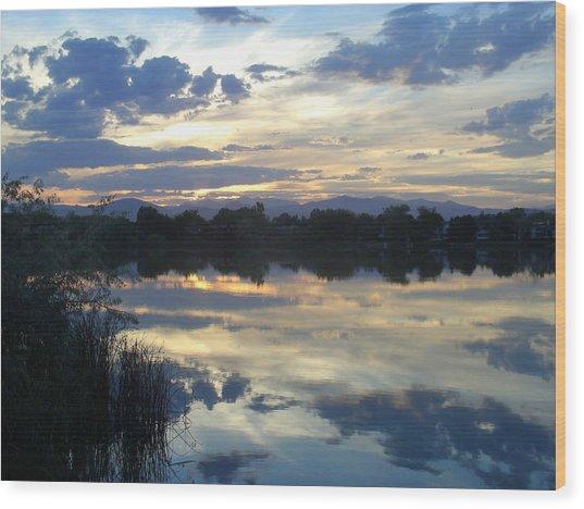 Blue Mirror Wood Print