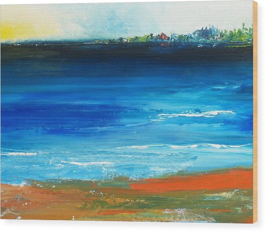 Blue Mist Over Nantucket Island Wood Print