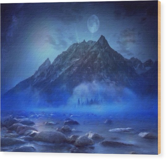 Blue Mist Rising Wood Print