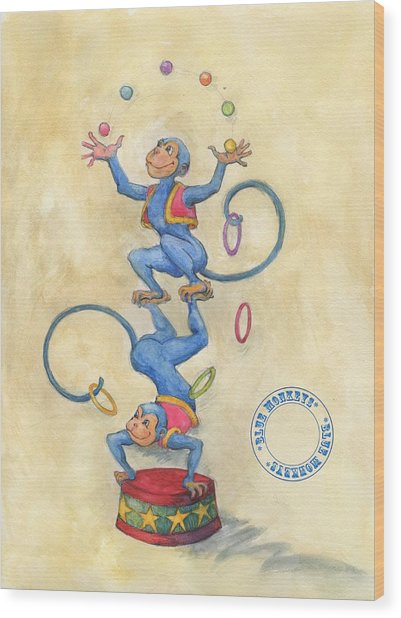 Blue Monkeys Wood Print