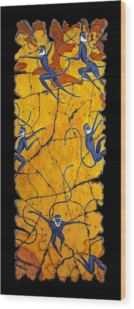 Blue Monkeys No. 41 Wood Print