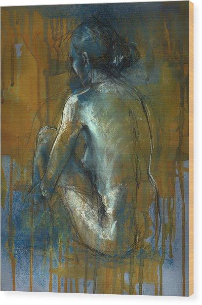 Blue Mood Wood Print by Lucy Morar