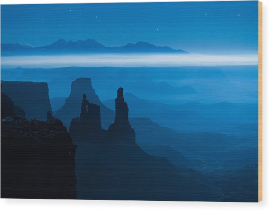 Blue Moon Mesa Wood Print