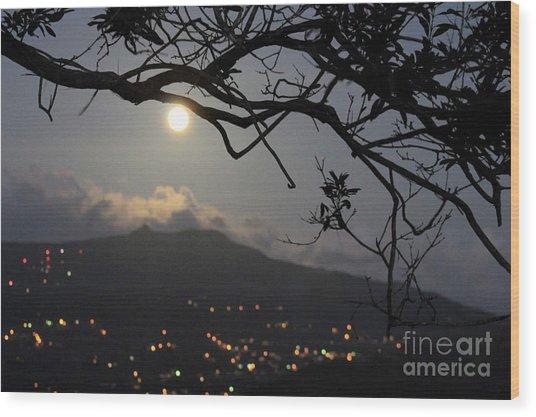 Blue Moon Over El Yunque Wood Print